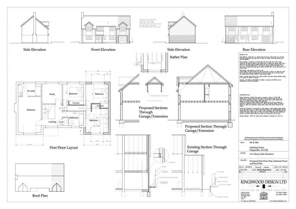 Elevation and floor plan for two storey house extension